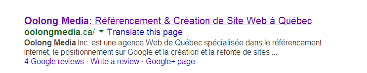 Meta titre et meta description referencement local quebec