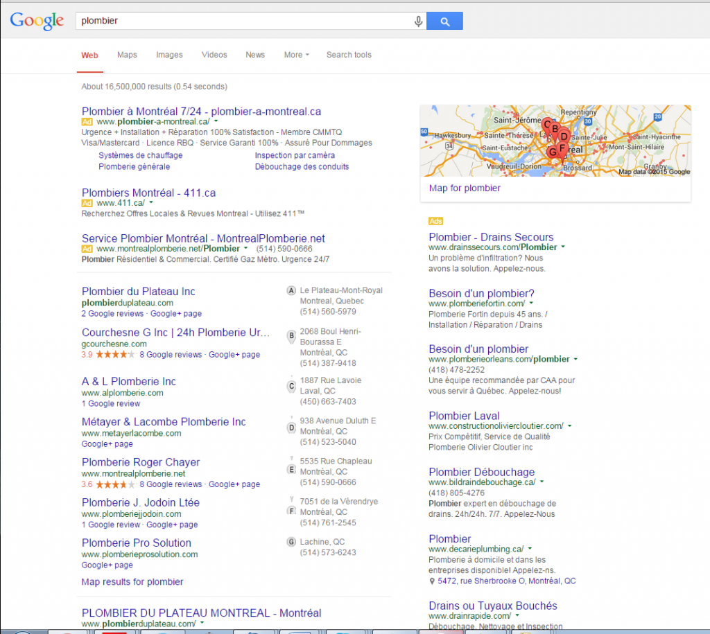 Referencement local google Plombier