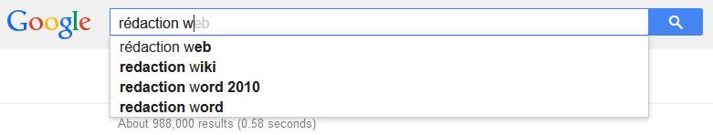 Saisie semi-automatique dans Google