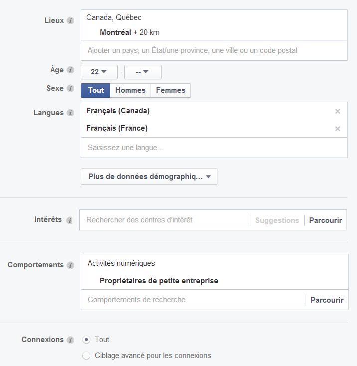 criteres pour cibler l'audience dans Facebook