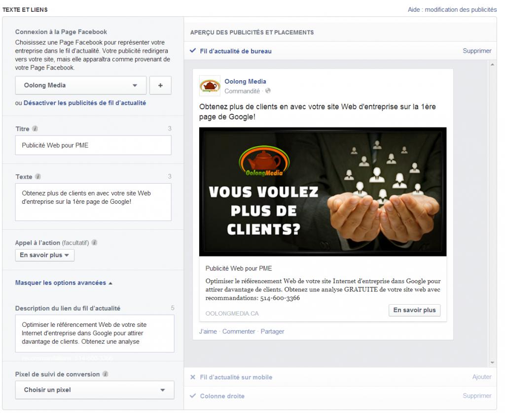 example des 3 textes Publicite web Facebook
