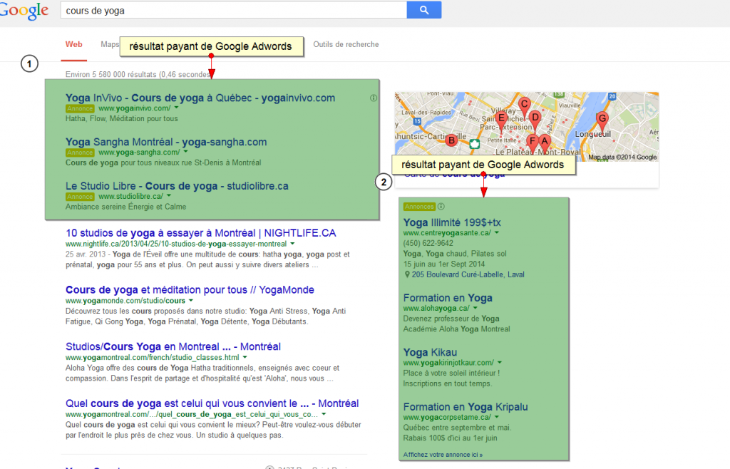 exemple resultat payant Google Adwords - Oolong Media