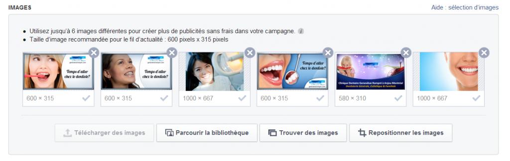 images et formats pour publicite Facebook