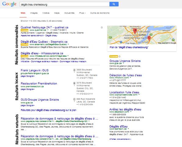 Les résultats naturels, commandités et locaux dans Google